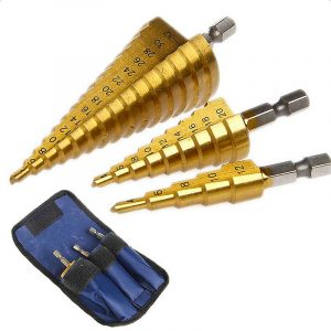 3pc Step Drill Bit Set metric 4 - 12 / 20 / 32mm 1 / 4 titanium coated metal hex core drill bits