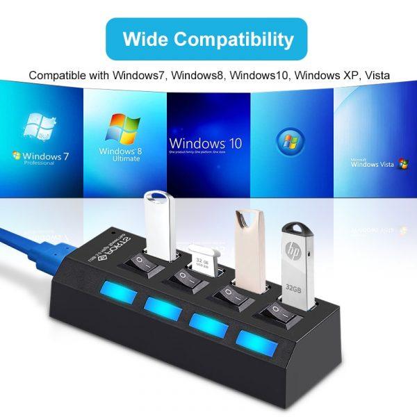USB 3.0 Powered HUB 2.0 Splitter 4/7 Port Expander