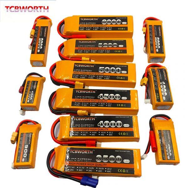 7.4V 11.1V 14.8V 22.2V RC LiPo Battery 1300 2200 3300 4200 5200 6000mAh 2S 3S 4S 6S 25C 35C 60C For RC Airplane Drone Quadrotor