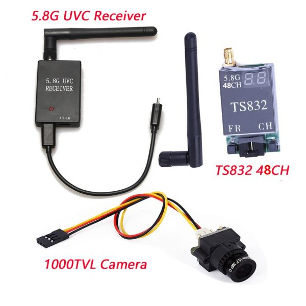 5.8G FPV Receiver UVC Video Downlink TS832 5.8G 48CH 600mW Wireless AV Transmitter 1000TV Camera 2.8mm
