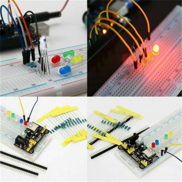 Electronic Component Kit for Arduino Raspberry Pi STM32 with 830 Tie-points Breadboard Power Supply etc...