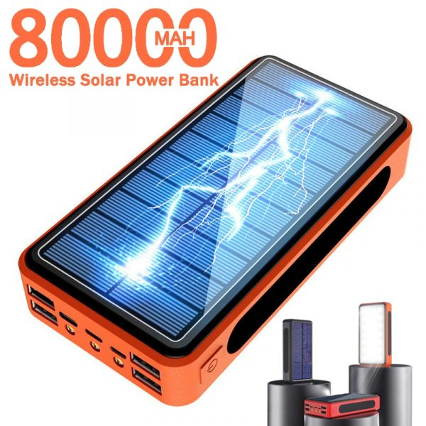 80000mAh Wireless Solar Power Bank Portable Phone Charger with 4 USB and LED Lighting
