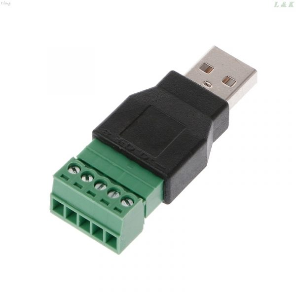 USB 2.0 Type A Male/Female to 5P Screw Terminal Adapter Connector L29K