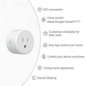 FrankEver Mini US Smart Socket Wifi Plug with Surge Protector 110-240V Voice Control works with Alexa and Google Home