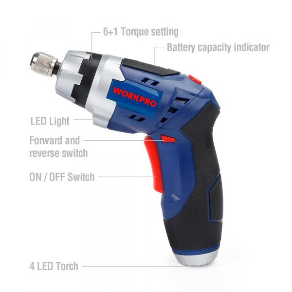 WORKPRO 3.6V Cordless Screwdriver Rechargeable Fold-able Screwdriver with Work Light