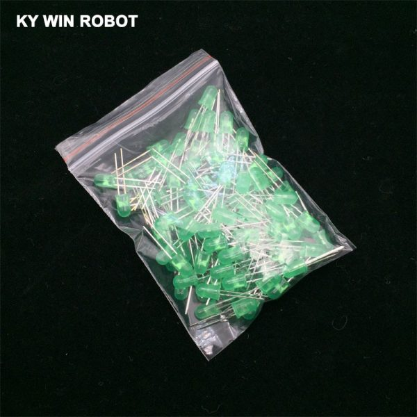 100pcs 5mm LED Diode 5 mm Assortment Kit White Green Red Blue Yellow Orange Pink Purple Warm white Light Emitting Diode Pack