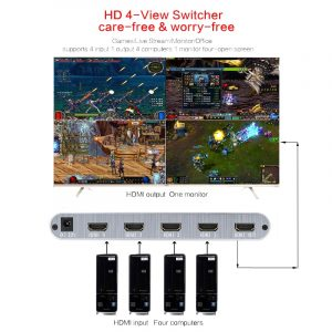 4X1 HDMI Multi-viewer with Switch 1080p HD IR