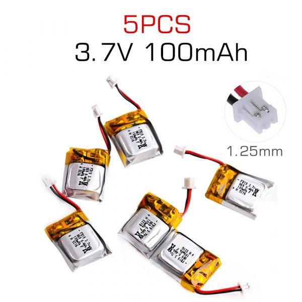 3.7V 100mAh Li-po Battery for Cheerson CX-10 CX-10A FQ777-124 Hubsan Q4 Wltoys V272 Mini RC Quadcopter Drone Battery 5 pieces