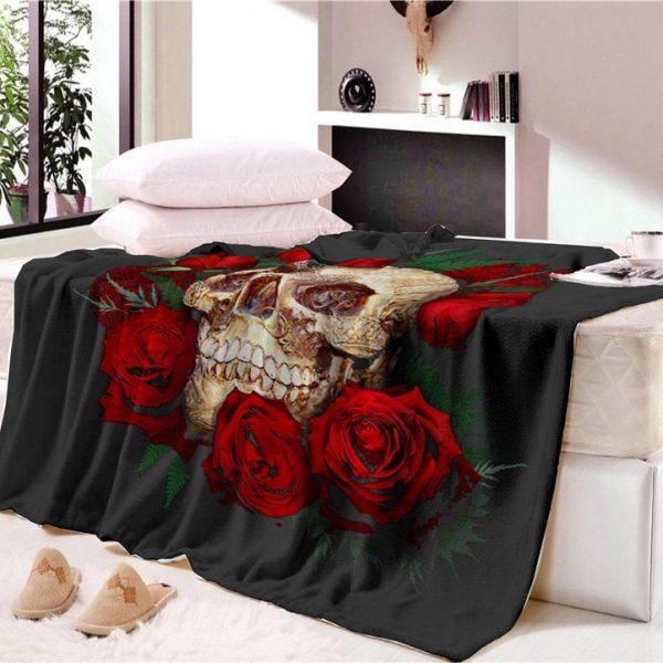 Skull with Roses Velvet Plush Throw Blanket