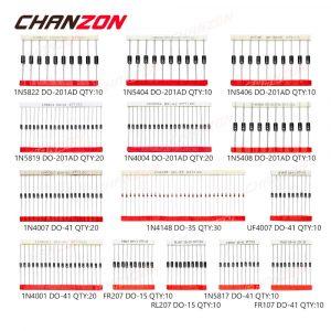200pcs Fast Switching Schottky Diode Assortment Kit 1N4001 1N4004 1N4007 1N5408 UF4007 FR207 1N5817 1N5819 1N5822 1N4148 RL207