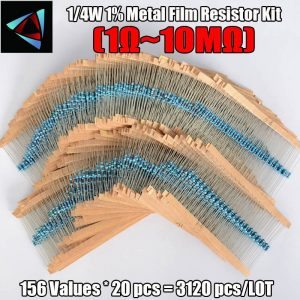 3120pcs 156 Values 1 ohm to 10M ohm 1/4W 1% Metal Film Resistors Assortment Kit Electronic Components