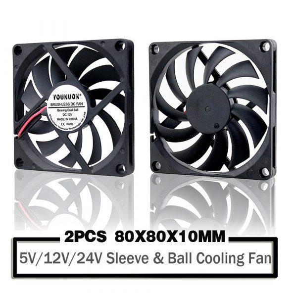 Computer Fan 80MM 5V 80x80x10mm 8cm 5V 12V 24V 8010 2PIN 3PIN Brushless DC 2PCS