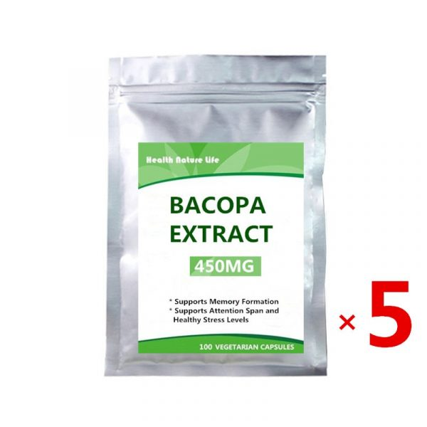 Bacopa Monnieri Capsules – 450mg, 100 Count / Non-GMO, Gluten Free, Concentrated 20% Bacosides