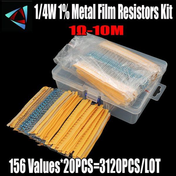 3120pcs 156 Values 1 ohm to 10M ohm 1/4W 1% Metal Film Resistors Assortment Kit Electronic Components