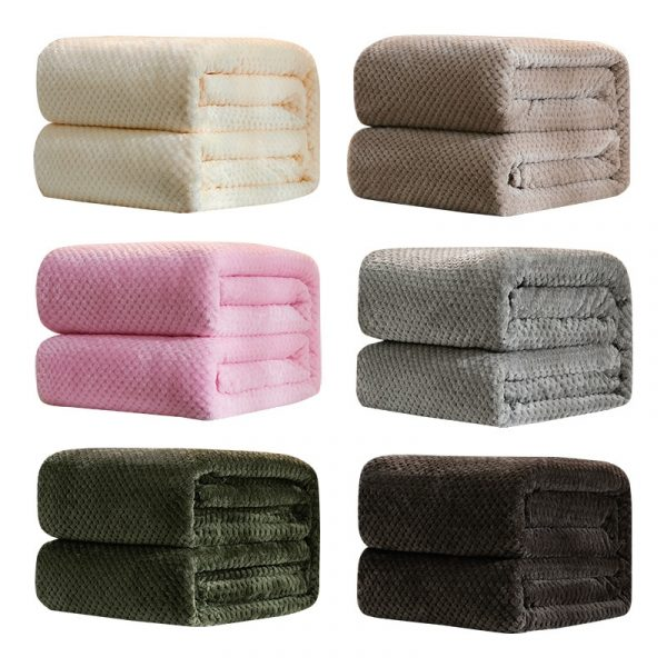 Plush Fleece Flannel Blanket - Solid Color