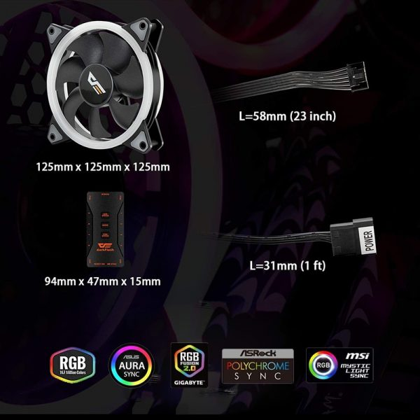 Computer Case PC Fan ARGB LED Cooling Fan 120mm AURA SYNC RGB Case Fans