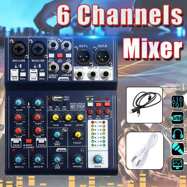 LEORY Mini 6 Channel Audio Mixer with Integrated Effects and USB D-A 48V Phantom Power DSP