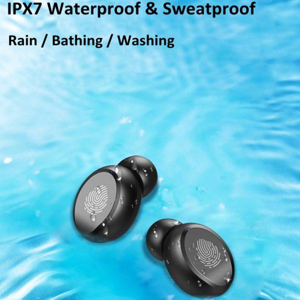 Wireless Bluetooth V5.0 Earphones HiFi Stereo Waterproof Headphone with Microphone