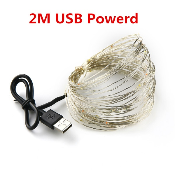 LED Fairy String light Warm White Silver Wire Battery Power and USB